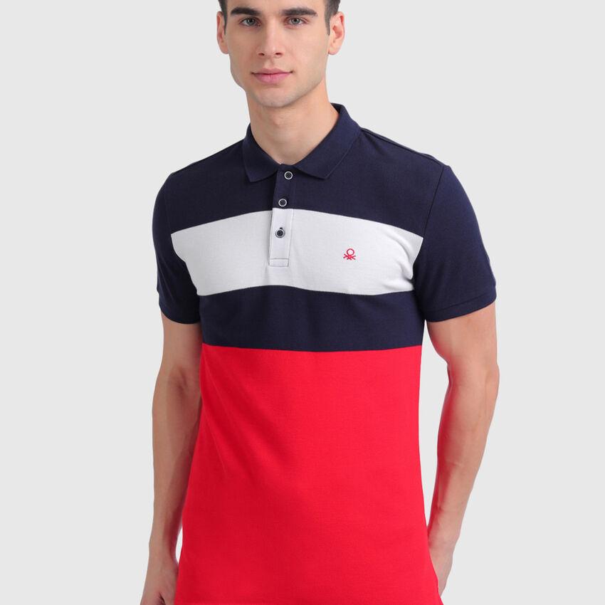Pure Cotton Striped Pique Polo Shirt