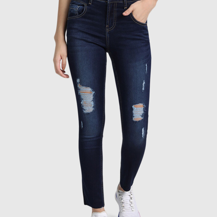 Cotton Ankle Length Denim with Distress