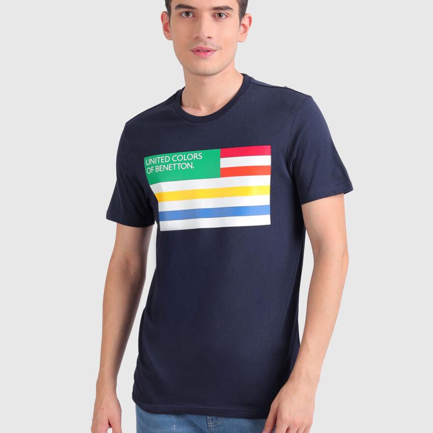 Pure Cotton Tee Shirt with Flag Print