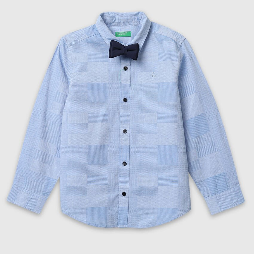Textured Cotton Shirt with Bow