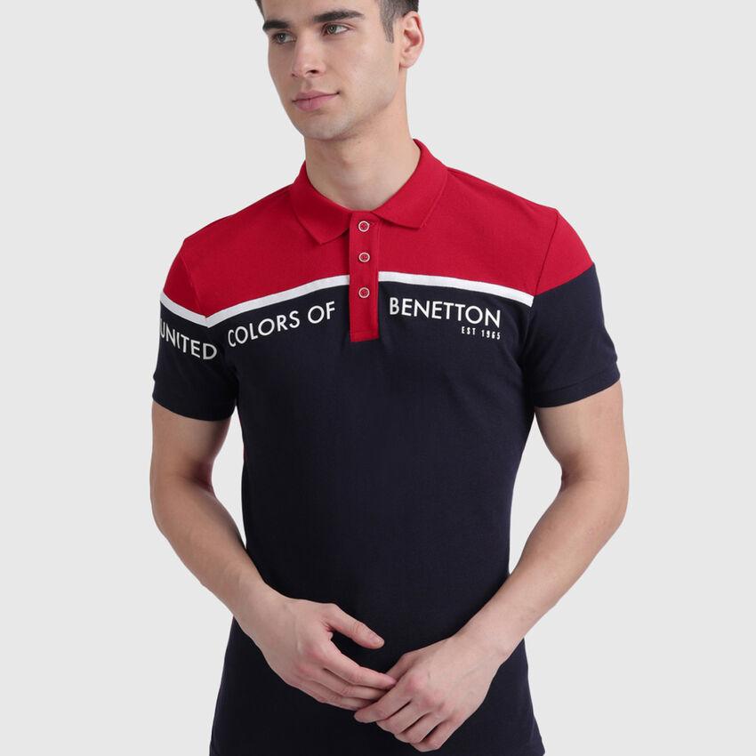 Pure Cotton Polo Shirt with Block Colour Print