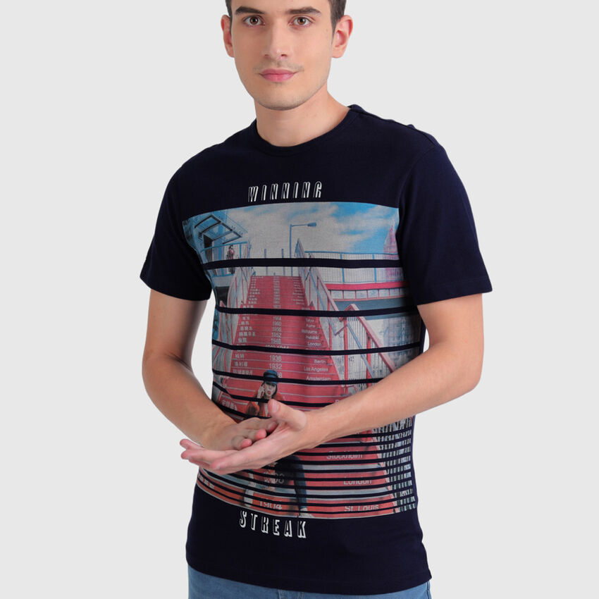 Cotton Tee Shirt with Splicing Stripes