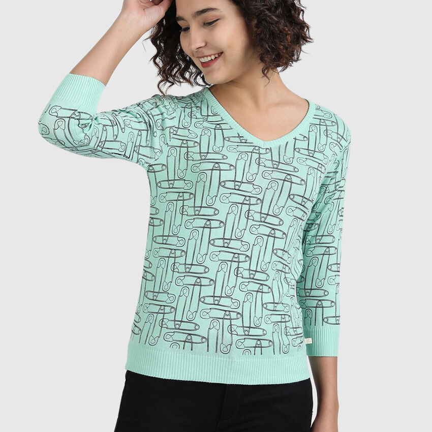 Pure Cotton Tricot Top with V-Neck