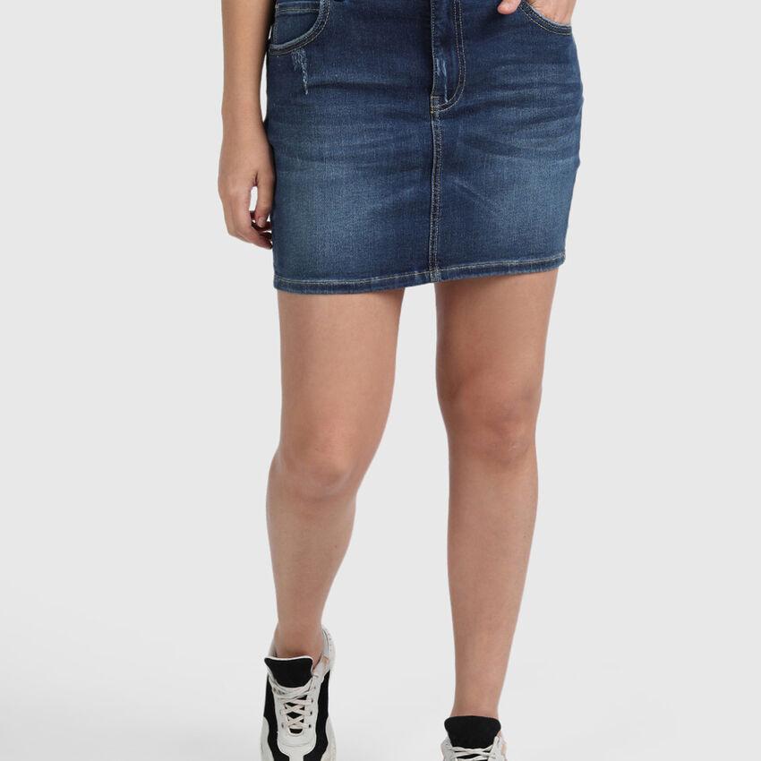Cotton Mini Skirt with Heat Set and Distress