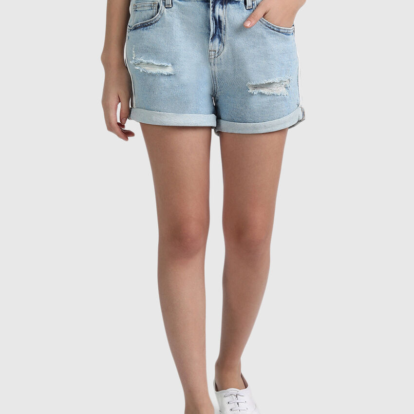 Cotton Distress Shorts with White Tape