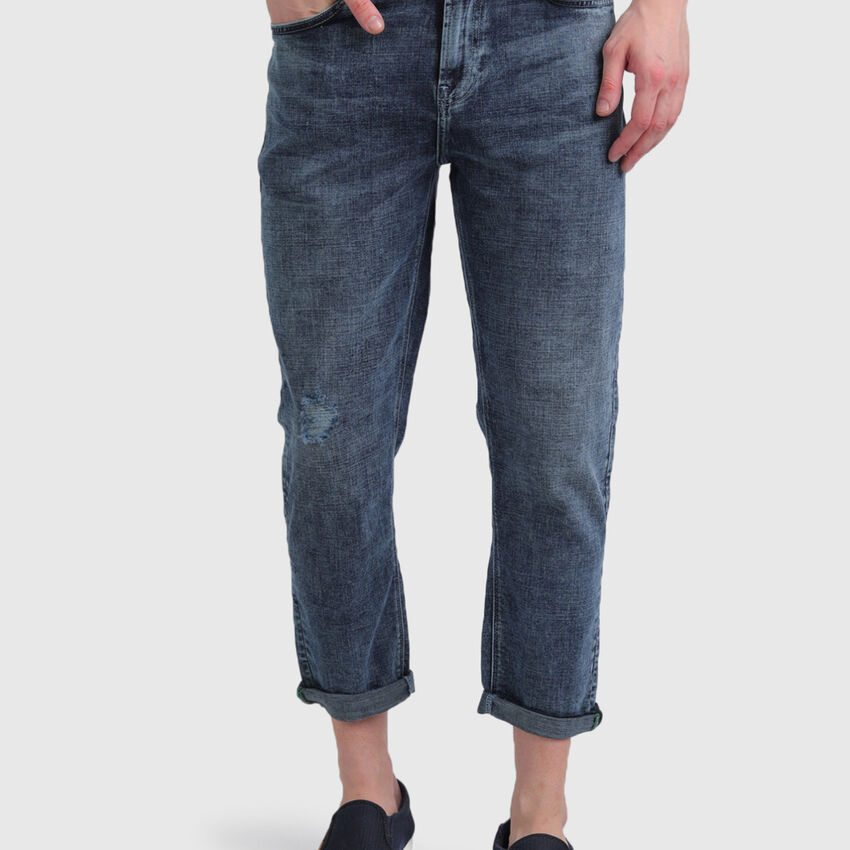 Cotton Cropped Fit Jeans