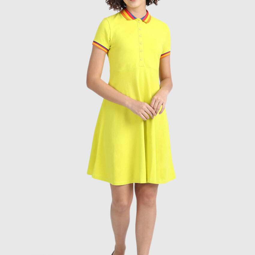 Pure Cotton Fit and Flare Dress with Polo Neck