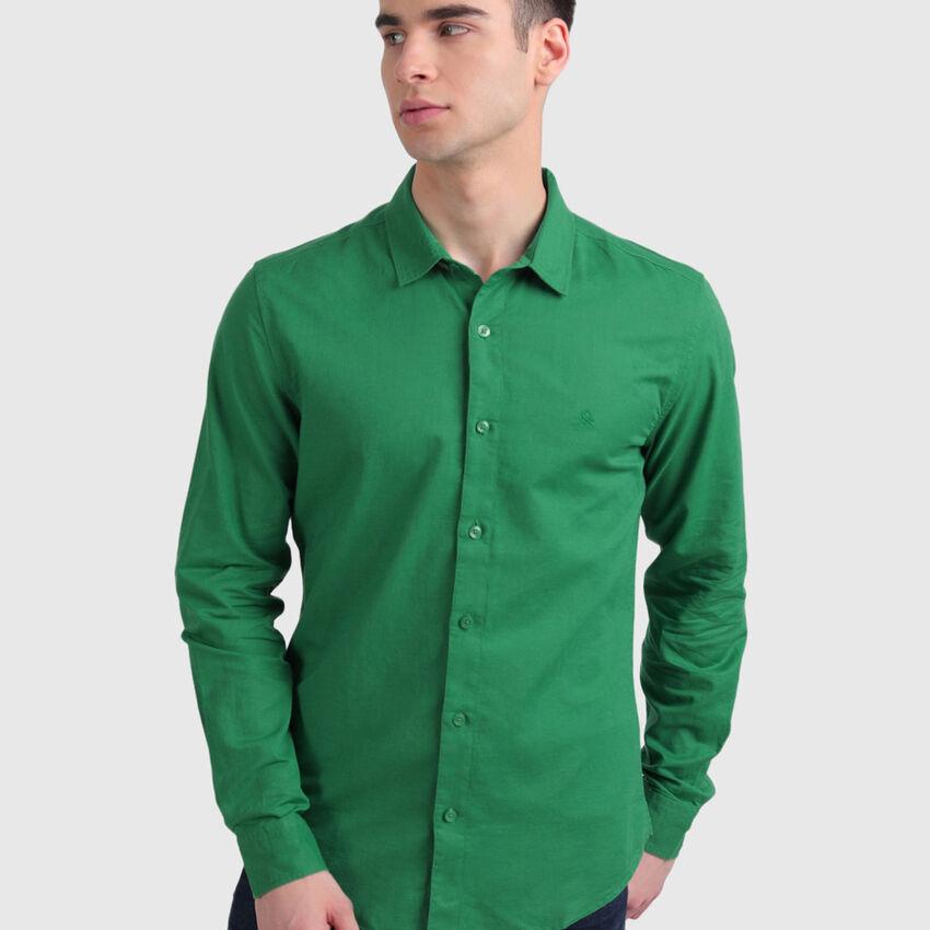 Long Sleeve Linen Blend Shirt