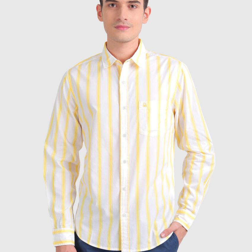 Cotton Peached Poplin Striped Shirt