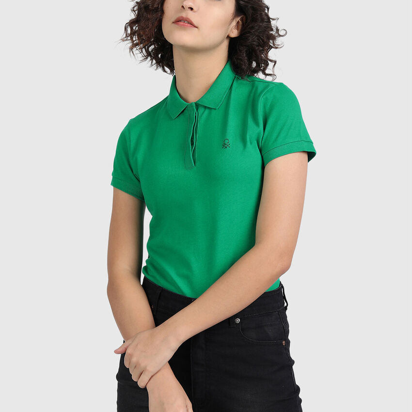 Pure Cotton Polo Neck Tee in Solid Colour
