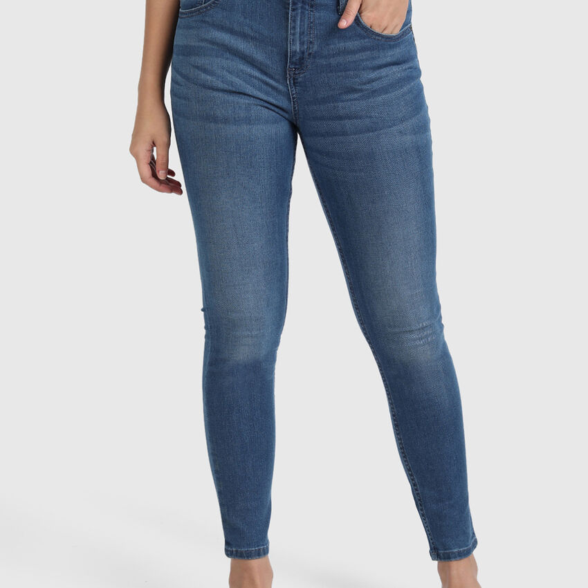Cotton Skinny Fit Jeggings in Blue Tones