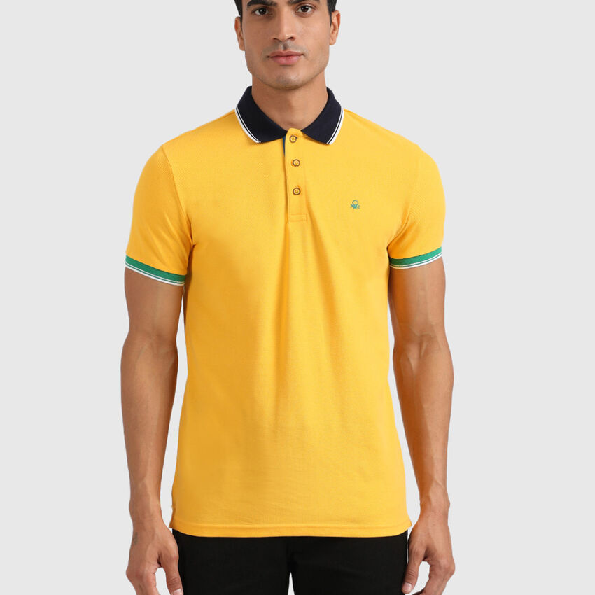 Cotton Polo Tee with Embroidered Logo