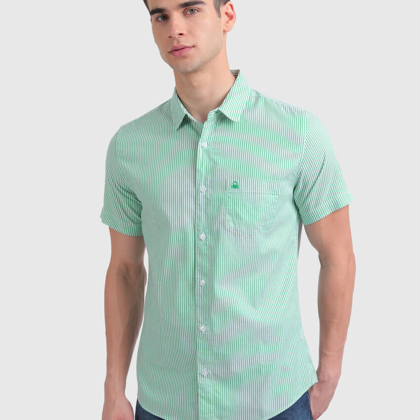 Pure Cotton Oxford Shirt with Stripes