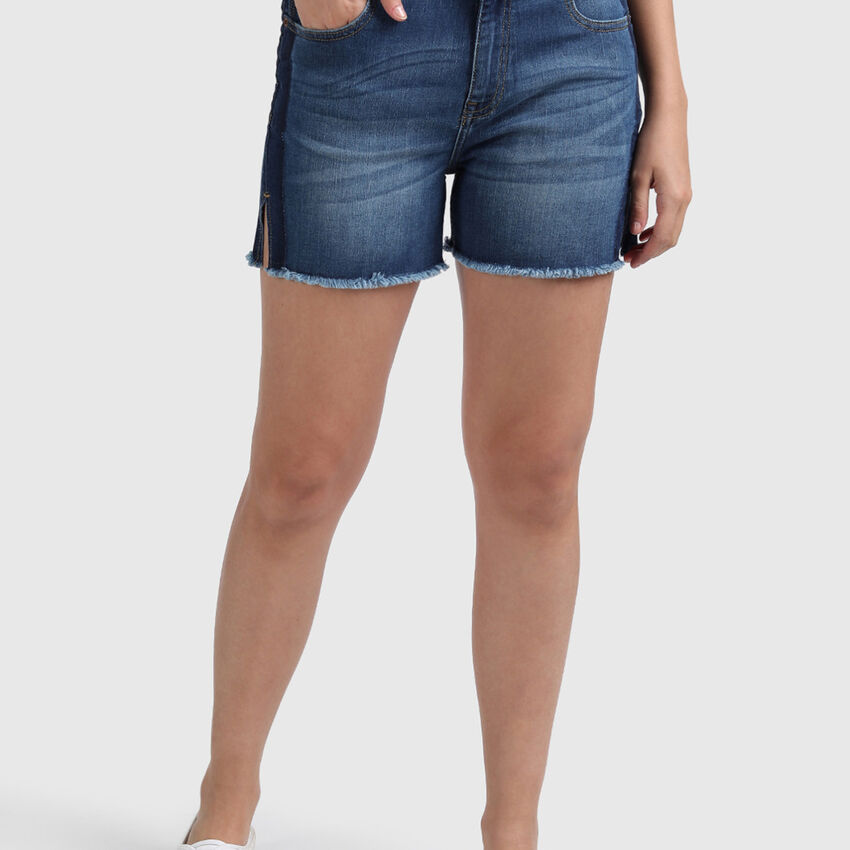 Cotton Shorts with Side Tonal Effect