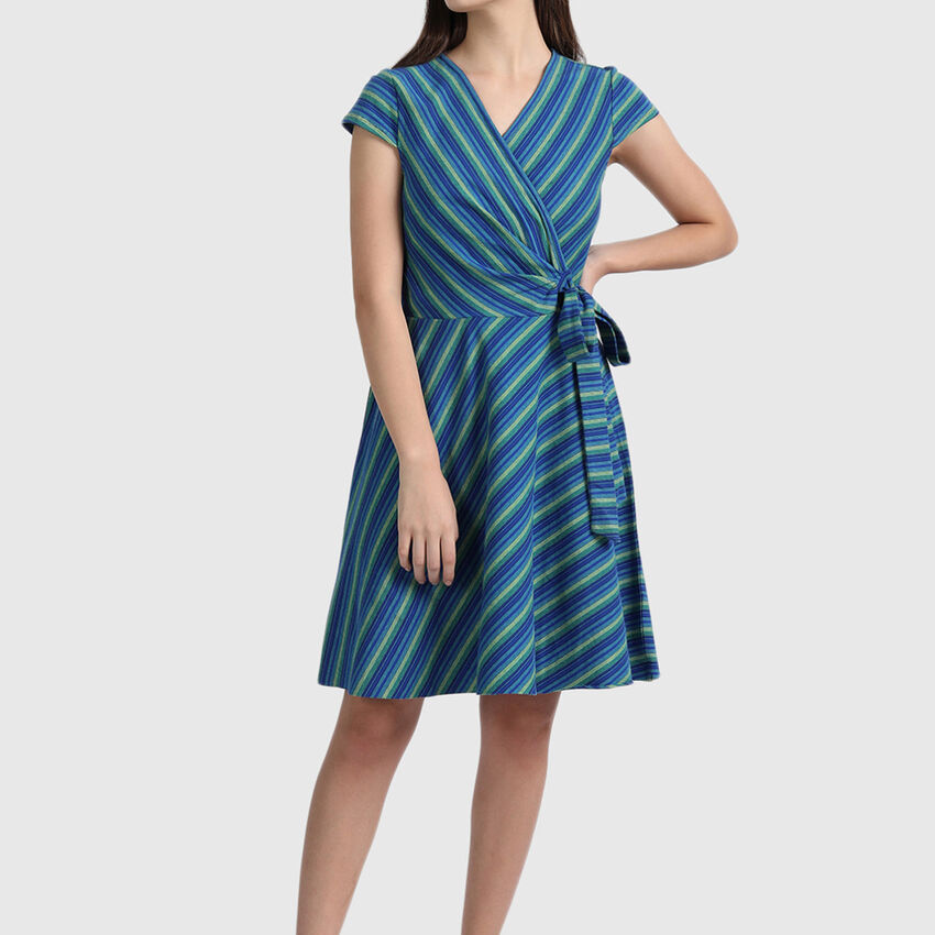 Pure Cotton Wrap Dress with Cap Sleeves
