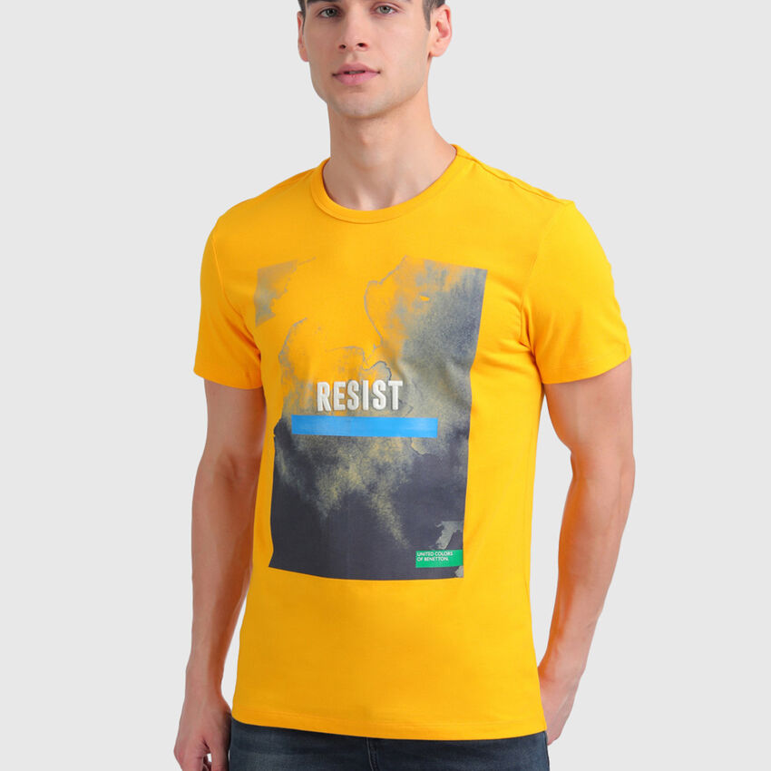 Pure Cotton Tee Shirt with Washed Effect Print