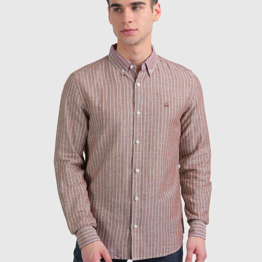 Linen Striped Shirt with Long Sleeves