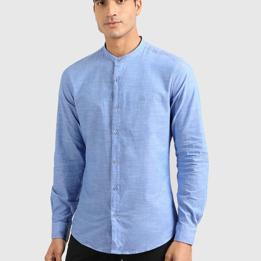Cotton Mandarin Collar Shirt