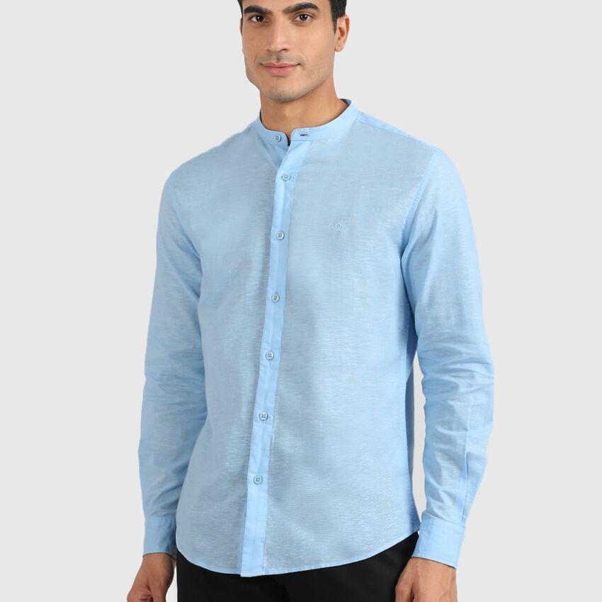 Linen Blend Mandarin Collar Cotton Shirt