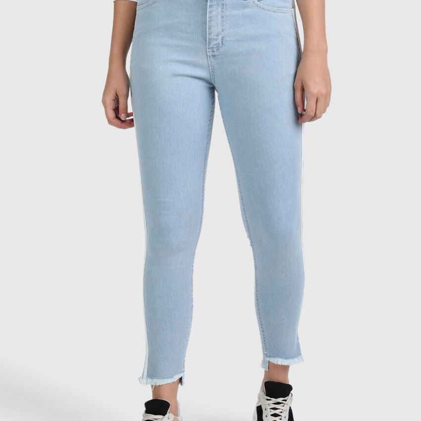 Cotton Skinny Fit Denim with White Taping on Sides
