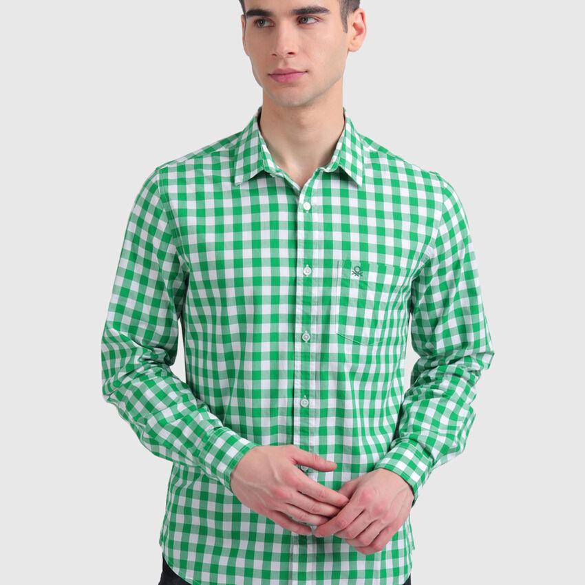 Peached Poplin Checks Shirt