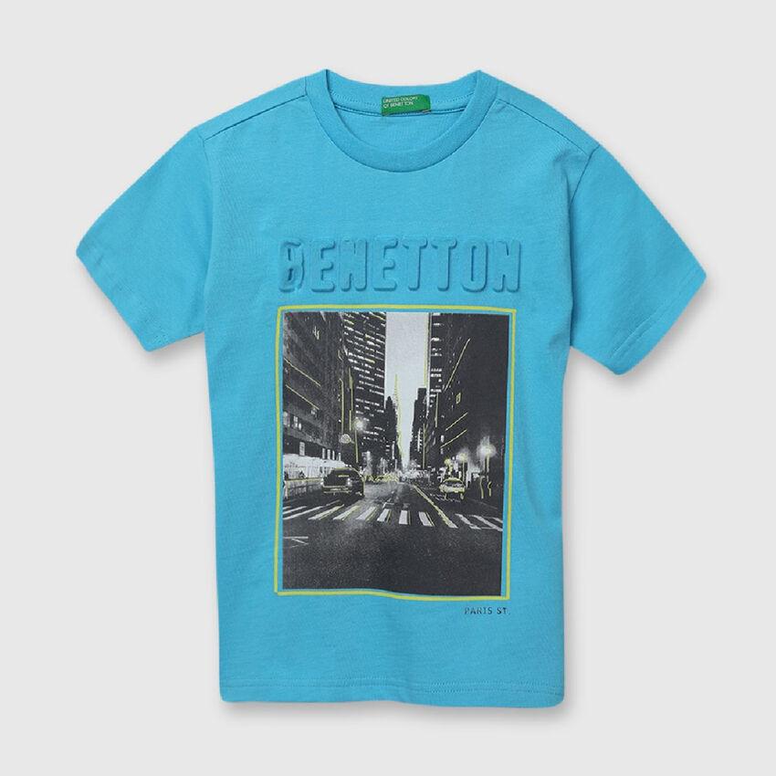 "Pure Cotton Tee Shirt wth ""Benetton"" Embossed"