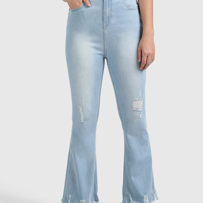 Cotton Jeans with Cropped Boot Cut and Damage