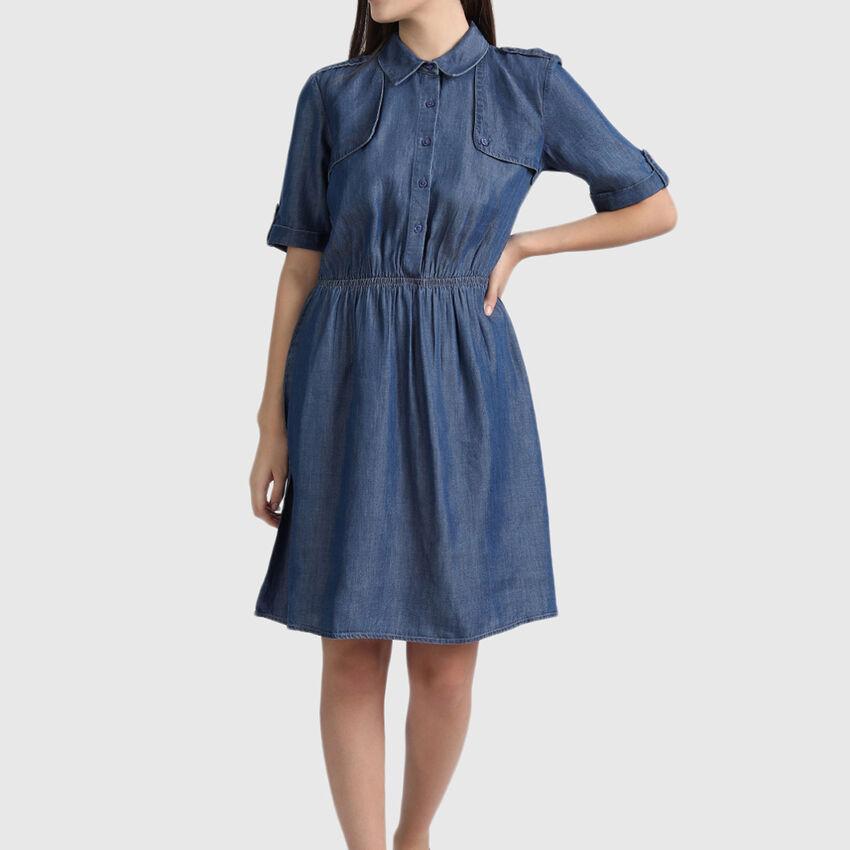 Pure Lyocell Trench Denim Dress