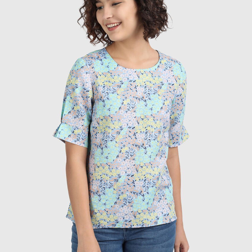 Linen Top with Floral Print