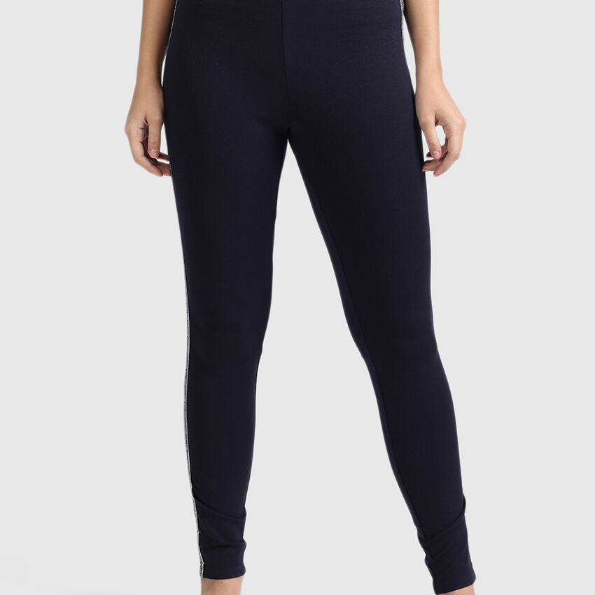 Cotton Leggings with Lurex and Branding Tape
