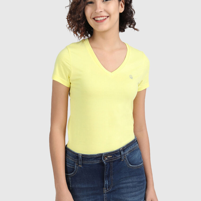 Pure Cotton Tee Shirt with V-Neck
