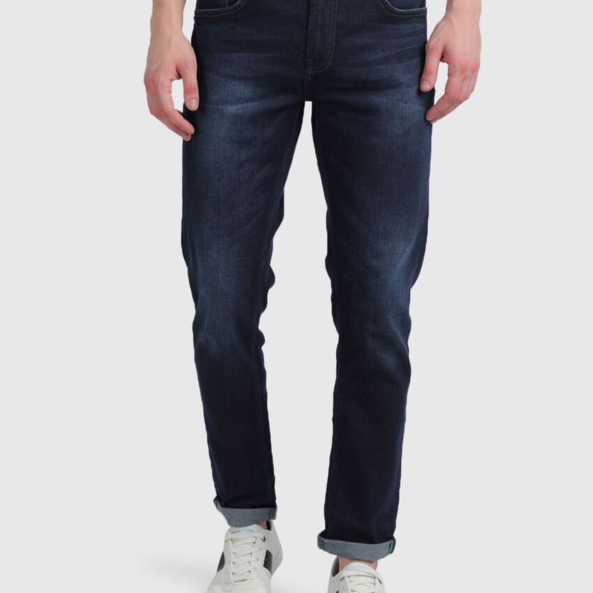 Cotton Washed Look Slim Tapered Jeans