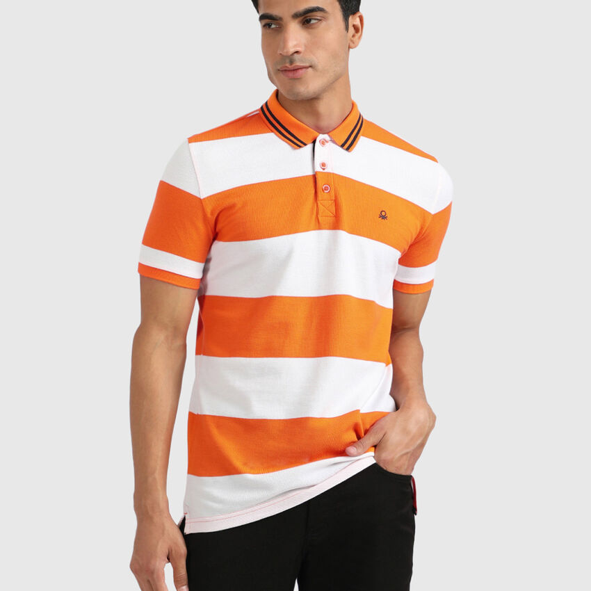 Pure Cotton Rugby Striped Polo