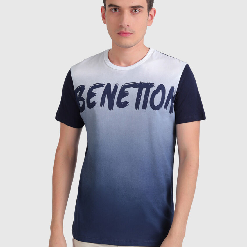 """Pure Cotton Tee Shirt with Brushed """"Benetton"""" Print"""