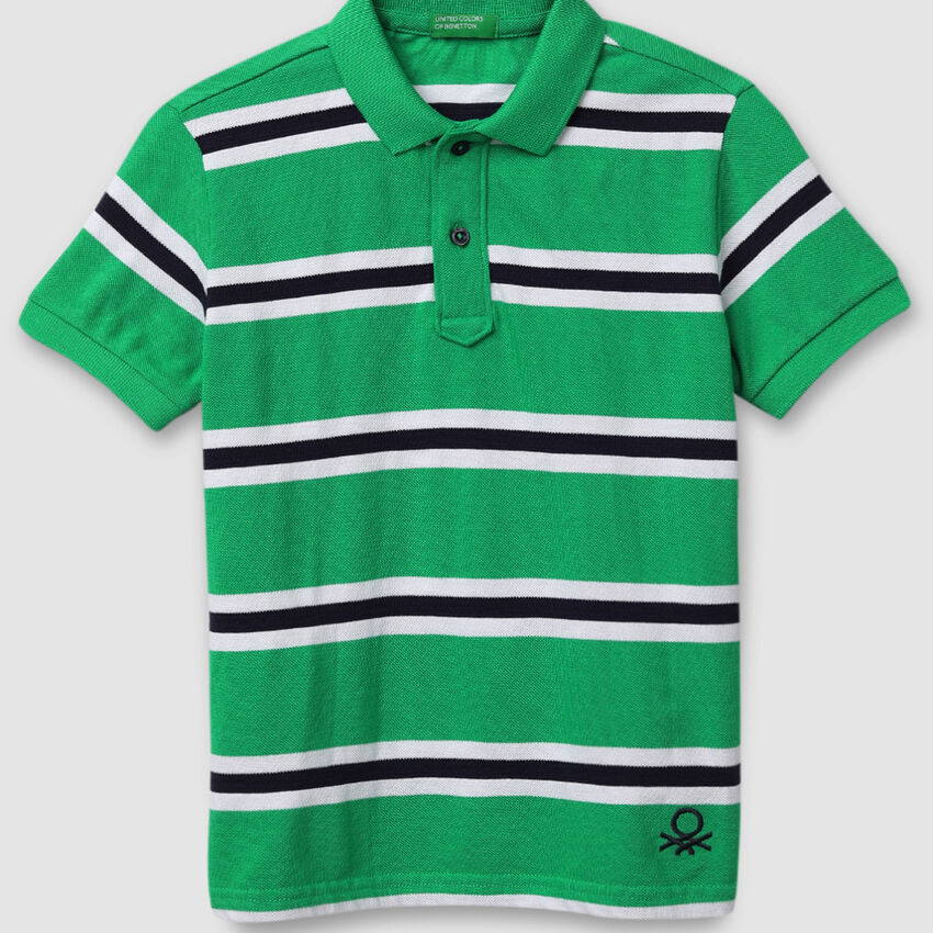 Striped Polo Shirt with Buttons
