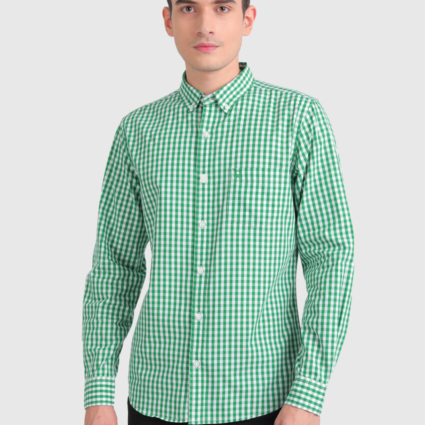 Pure Cotton Long Sleeves Checked Shirt