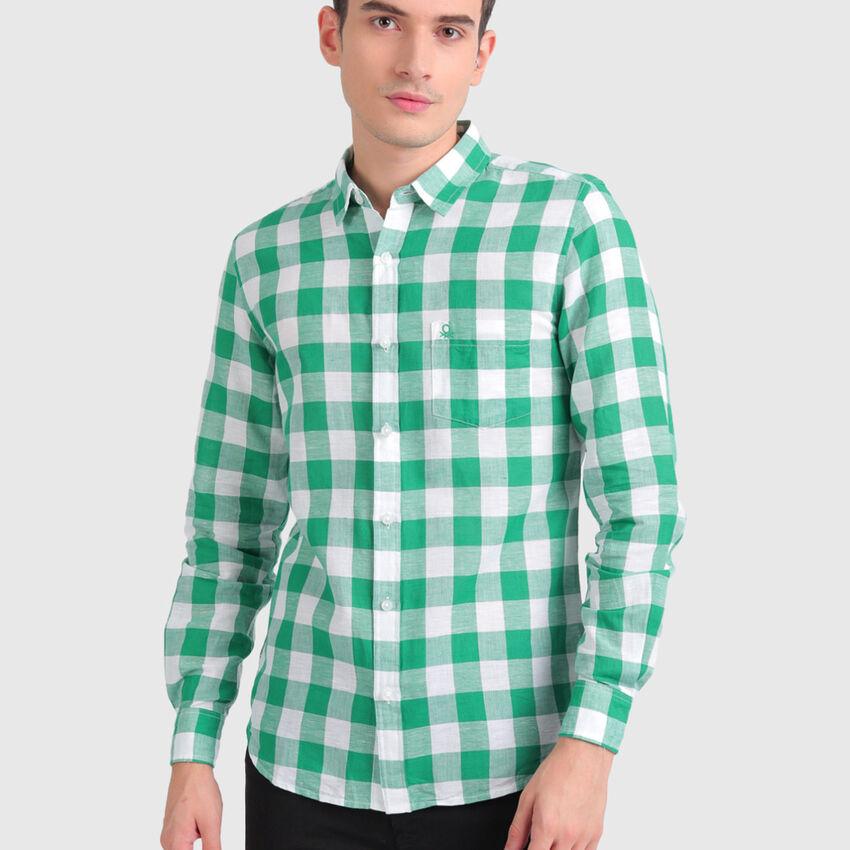 Linen Checks Shirt with Long Sleeves
