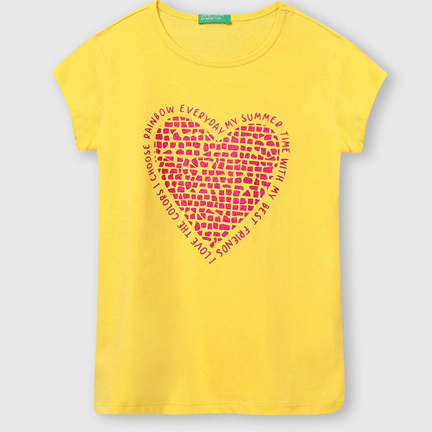 Pure Cotton Tee Shirt with Heart Print