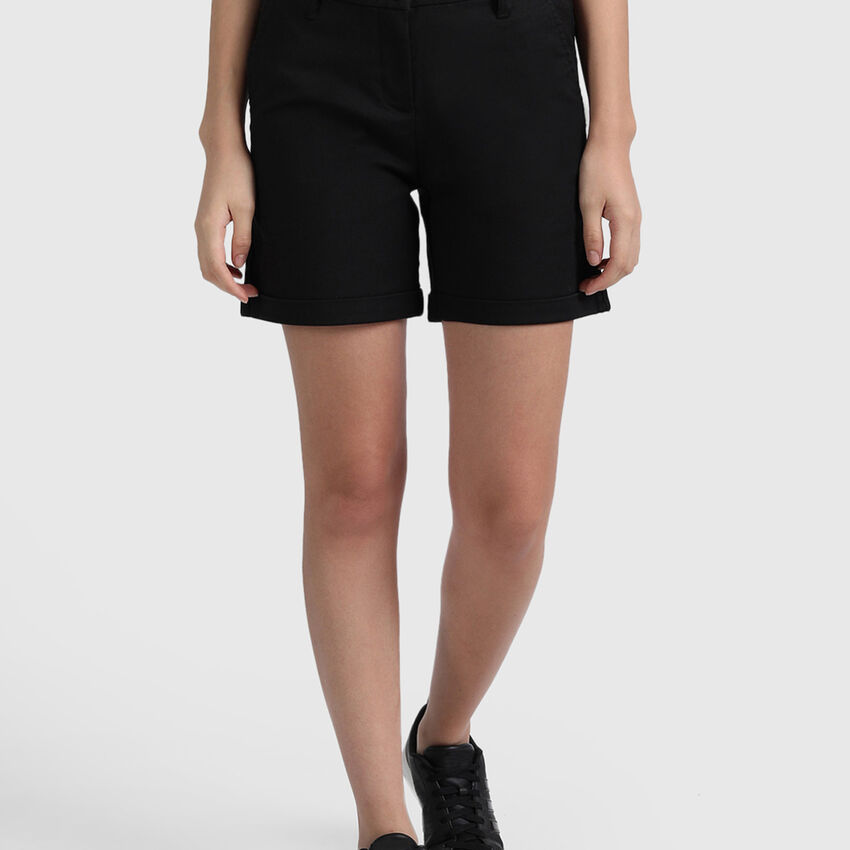 Cotton Lycra Shorts in Solid Colour