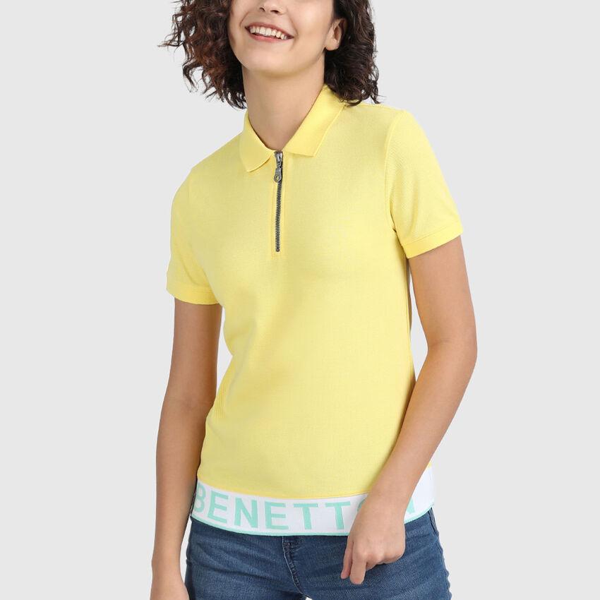 Pure Cotton Pique Polo Shirt with Zipper