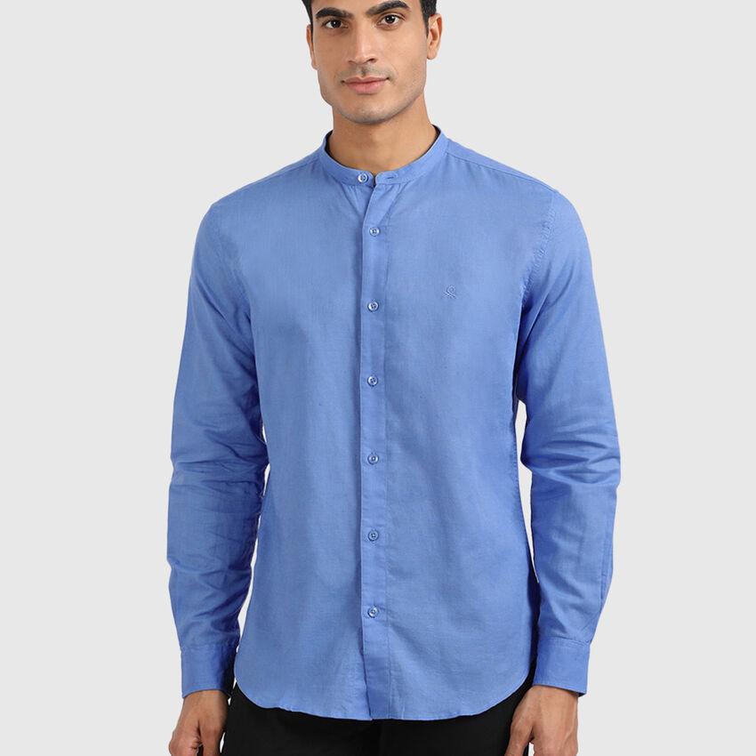 Linen Blend Mandarin Cotton Shirt