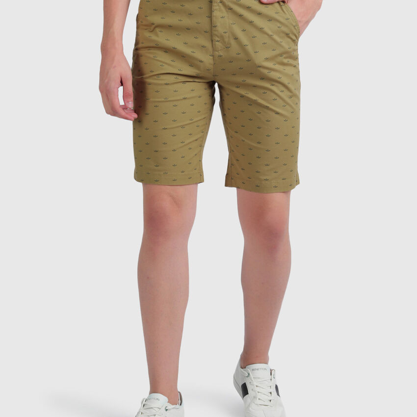 Cotton Slim Fit Printed Shorts