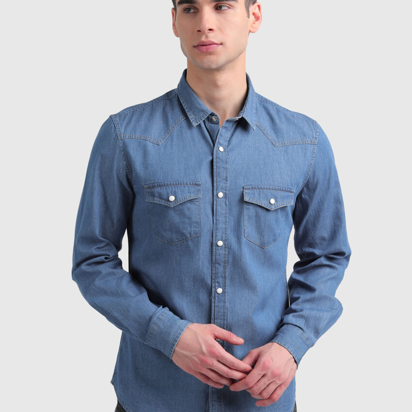 Pure Cotton Classic Denim Shirt