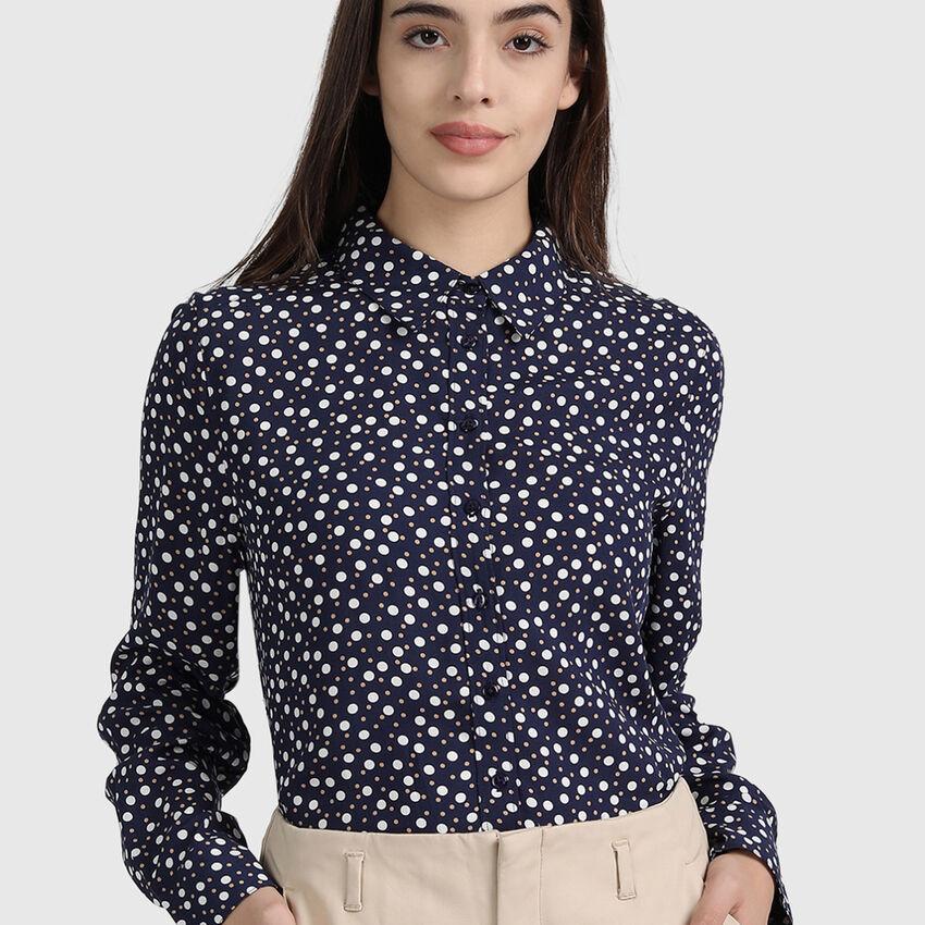 Modal Printed Long Sleeve Printed Shirt