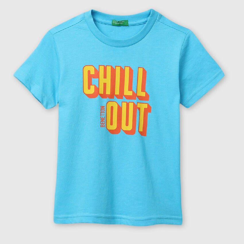 Cotton Tee Shirt with Message Print