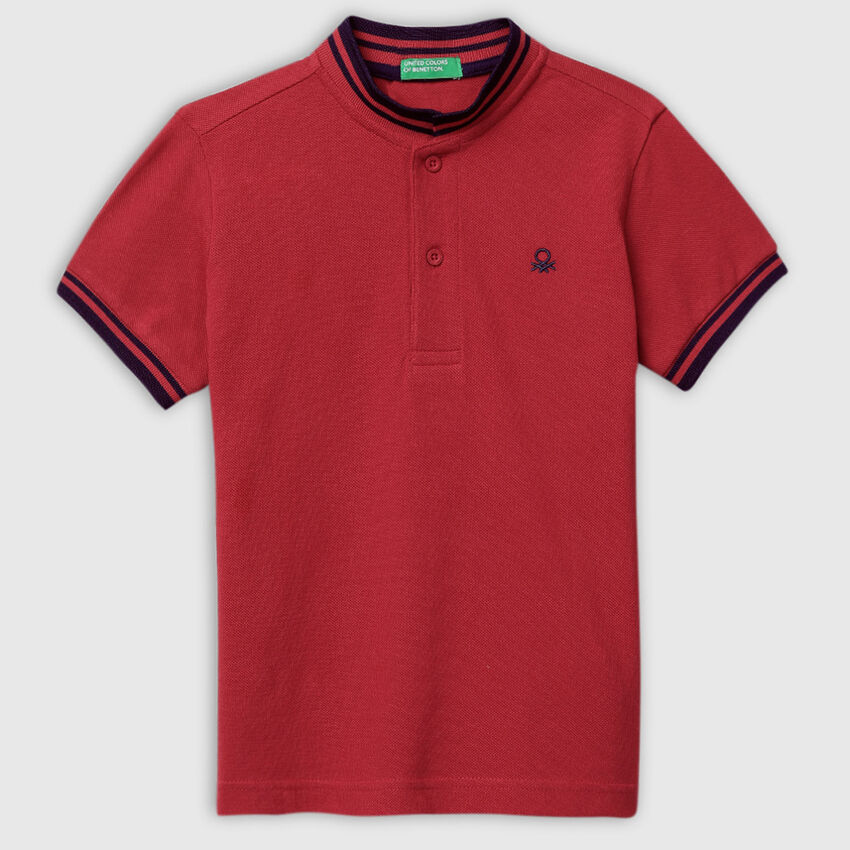 Pure Cotton Johnny Collar Polo Shirt