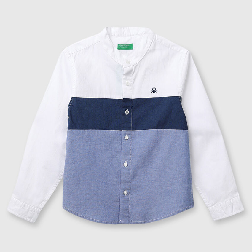 Colorblock Oxford Shirt with Long Sleeves