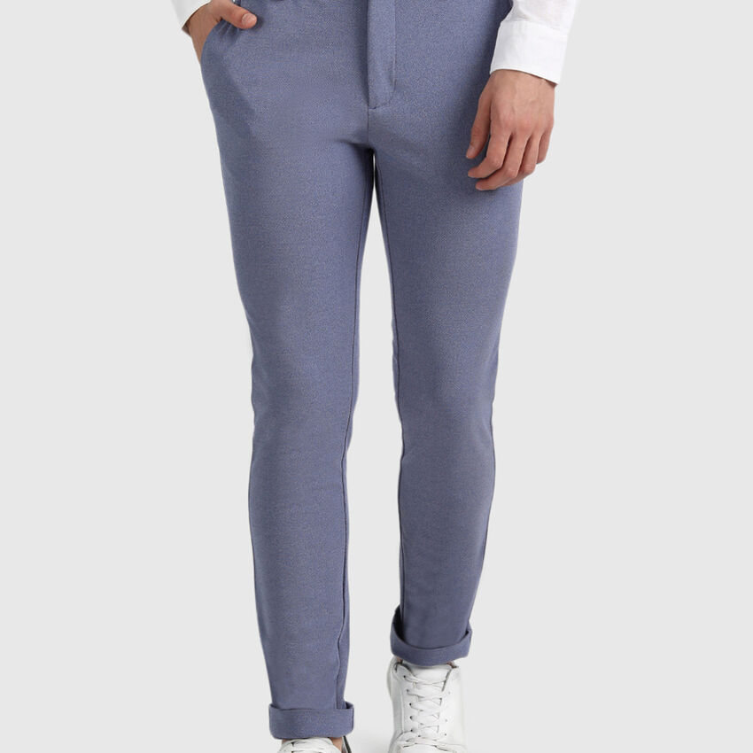 Polyester and Viscose Slim Fit Trousers