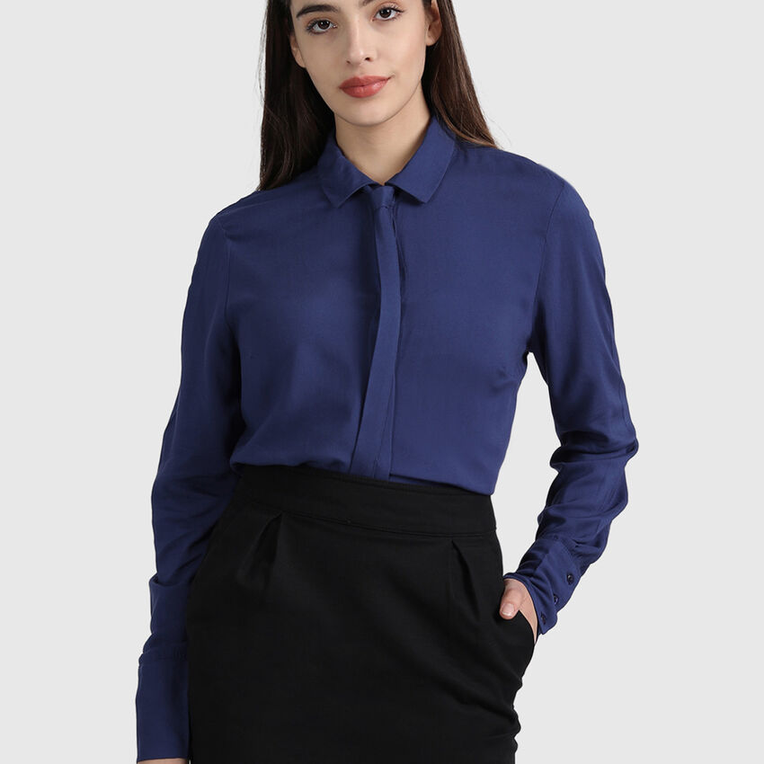 Viscose Long Sleeve Shirt with Tie