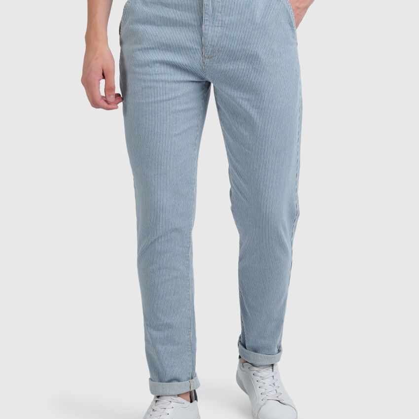 Cotton Slim Tapered Jeans with Stripes